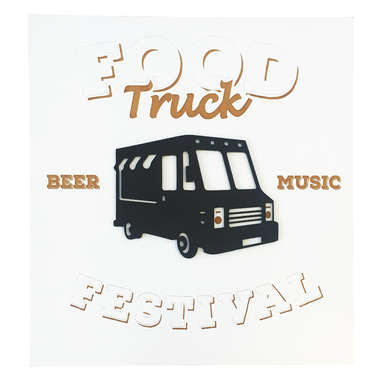 Placa Decorativa MDF Pintura Laca - Food Truck