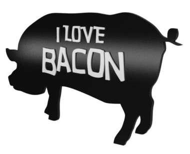 Placa Decorativa MDF Pintura Laca - I love Bacon