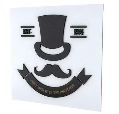 Placa Decorativa MDF Pintura Laca - Moustache