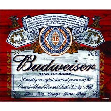 Placa Decorativa MDF - Budweiser Logo Retrô