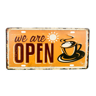 Placa Decorativa Metal - We are Open