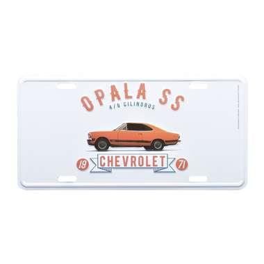 Placa Decorativa de Metal 15 x 30 cm - GM Opala SS 1971 Laranja