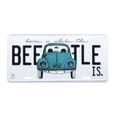 Placa Decorativa de Metal 15 x 30 cm - VW Beetle Azul - Volkswagen