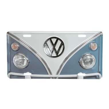 Placa Decorativa de Metal 15 x 30 cm - VW Kombi Azul e Branco