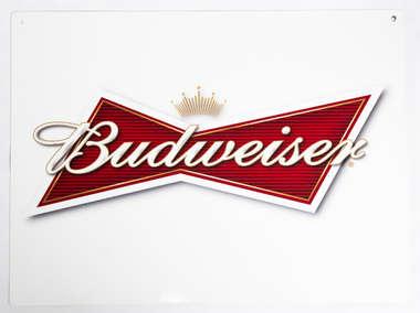 Placa Decorativa de Metal 30x20cm - Budweiser  - Branca