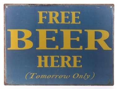Placa Decorativa de Metal 30x20cm - Free Beer