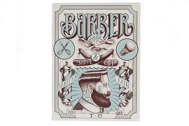 Placa Decorativa de Metal 30x40cm - Barbber Shave and Cut