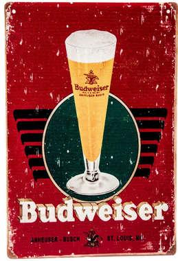 Placa Decorativa de Metal 30x40cm - Budweiser Tulipa