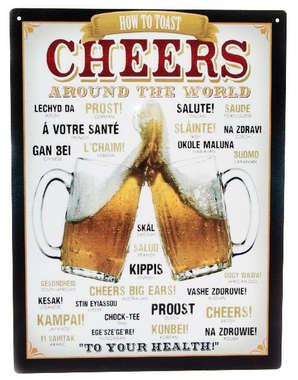Placa Decorativa de Metal 30x40cm - Cheers Around the World