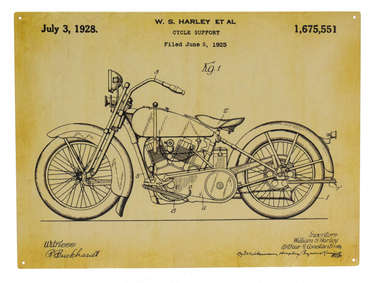 Placa Decorativa de Metal 30x40cm - Harley Davidson 1925