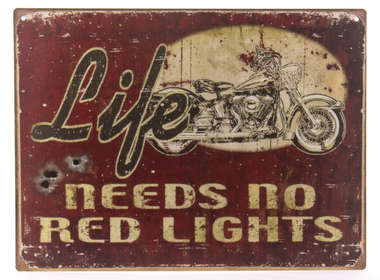 Placa Decorativa de Metal 30x40cm - No red lights