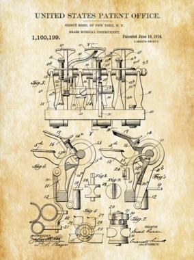 Placa Decorativa de Metal 30x40cm - Patente Brass Musical Instrument
