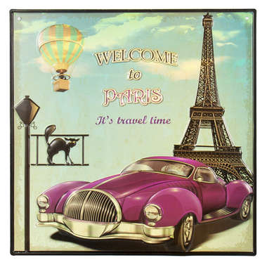 Placa Decorativa de Metal - Welcome to Paris - 30x30 cm