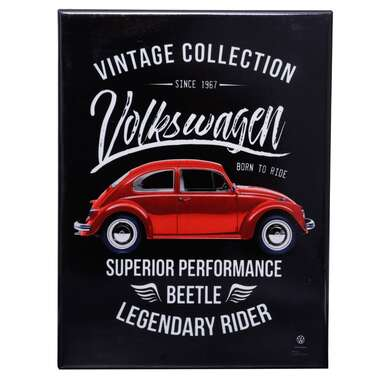 Placa Decorativa de Metal - Volkswagen Fusca Born to Ride - 26 x 19 cm