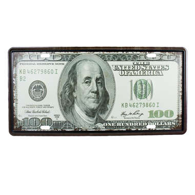 Placa Decorativa em Metal - Dollars