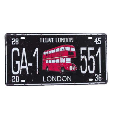Placa Decorativa em Metal - I Love London