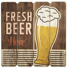 Placa MDF - Fresh Beer Here - 40x40 cm