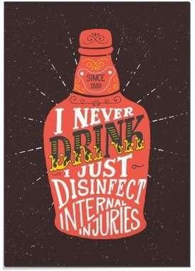 Placa MDF - I never drink- 30x44 cm