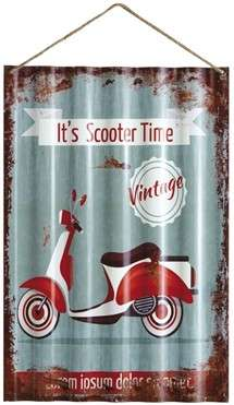 Placa Metal Ondulada Vintage - It´s Scooter Time - 60x40 cm