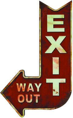 Placa Metal Adesivada Exit - 49x30 cm