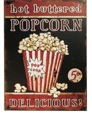 Placa Metal Adesivada -Popcorn  30x40 cm