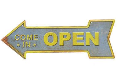 Placa Metal Bar Come in Open - 42x16 cm
