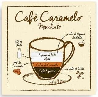 Placa Metal Café Caramelo Macchiato  - 20 x 20 cm