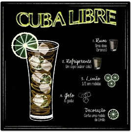 Placa Metal Cuba Libre - 20x20cm