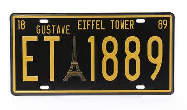 Placa Metal Vintage Paris - Coleção Nova