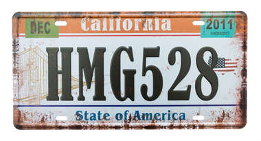 Placa Metal Vintage - California 2011