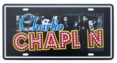 Placa Metal Vintage - Charlie Chaplin