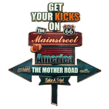 Placa Metal Vintage - Get your Kicks on the Route 66