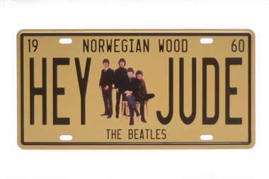 Placa Metal Vintage - Hey Jude