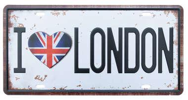 Placa Metal Vintage - I love London