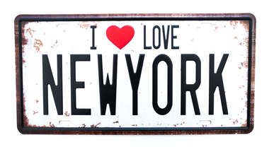 Placa Metal Vintage - I love New York