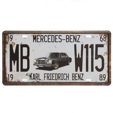 Placa Metal Vintage - Mercedes-Benz 1968