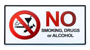 Placa Metal Vintage - No smoking, drugs or alcohol