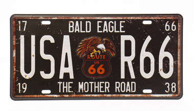 Placa Metal Vintage - USA R66 The Mother Road