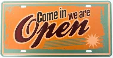 Placa Metal Vintage - We Are Open