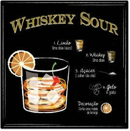 Placa Metal Whiskey Sour - 20x20cm