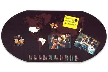 Placa Mural Decorativo - Mapa das Cervejas - 35 x 69 cm
