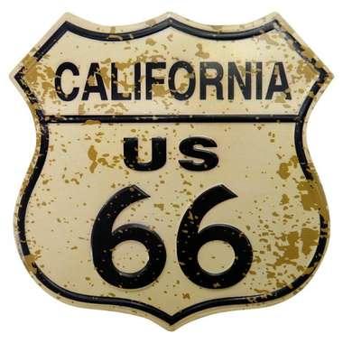 Placa metal Vintage - California US 66