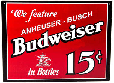 Placa decorativa metal - 30x40 cm - Budweiser 15C