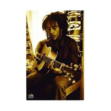 Placa em MDF - Bob Marley Sépia