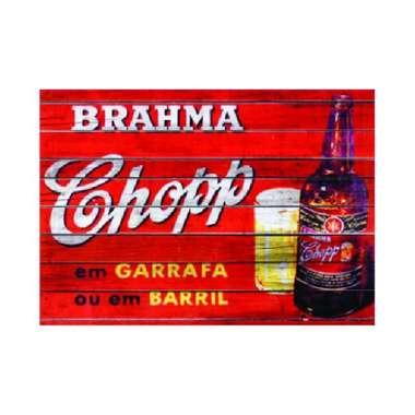 Placa em MDF - Brahma Chopp Garrava ou Barril - 28x21cm
