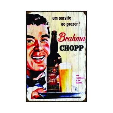 Placa em MDF - Brahma convite - 28x21cm