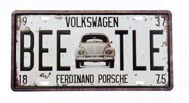 Placa metal Vintage - Beetle