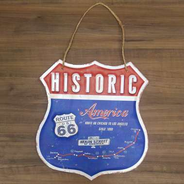 Placa metal relevo - Route 66