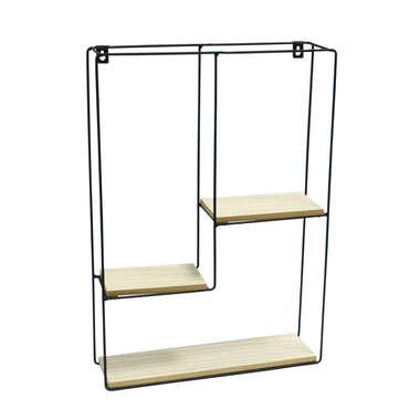 Prateleira Madeira e Metal Retângulo - 50 x 35 cm