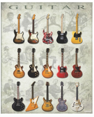Placa Decorativa MDF - Guitars